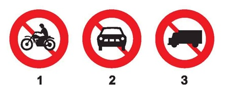 Biển nào báo hiệu cấm xe mô tô ba bánh đi vào?