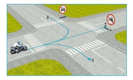 Theo hướng mũi tên, những hướng nào xe mô tô được phép đi.