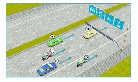 Trong hình dưới, những xe nào vi phạm quy tắc giao thông?