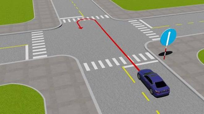 Câu hỏi 79: Xe đi theo chiều mũi tên có vi phạm quy tắc giao thông không?