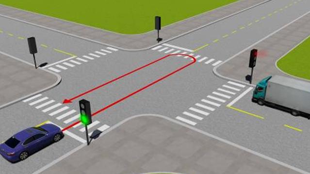 Câu hỏi 82: Xe con quay đầu đi ngược lại như hình vẽ dưới có vi phạm quy tắc giao thông không?