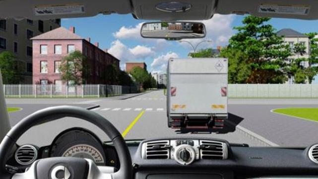 Câu hỏi 83: Người lái xe có được vượt xe tải để đi thẳng trong trường hợp này không?