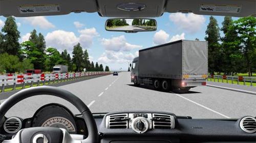 Câu hỏi 91: Xe tải phía trước có tín hiệu xin chuyển làn đường, bạn xử lý như thế nào trong trường hợp này?