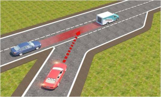 Câu hỏi 99: Trong tình huống dưới đây, xe con màu đỏ nhập làn đường cao tốc theo hướng mũi tên là đúng hay sai?