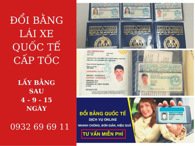 Dịch vụ đổi bằng lái xe Việt Nam sang Quốc Tế