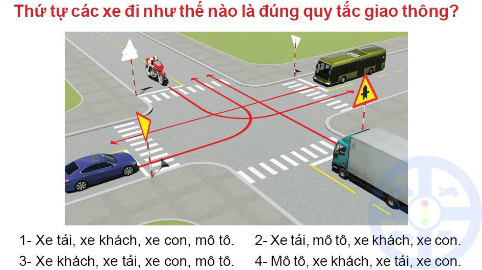 Thứ tự các xe đi như thế nào là đúng quy tắc giao thông?