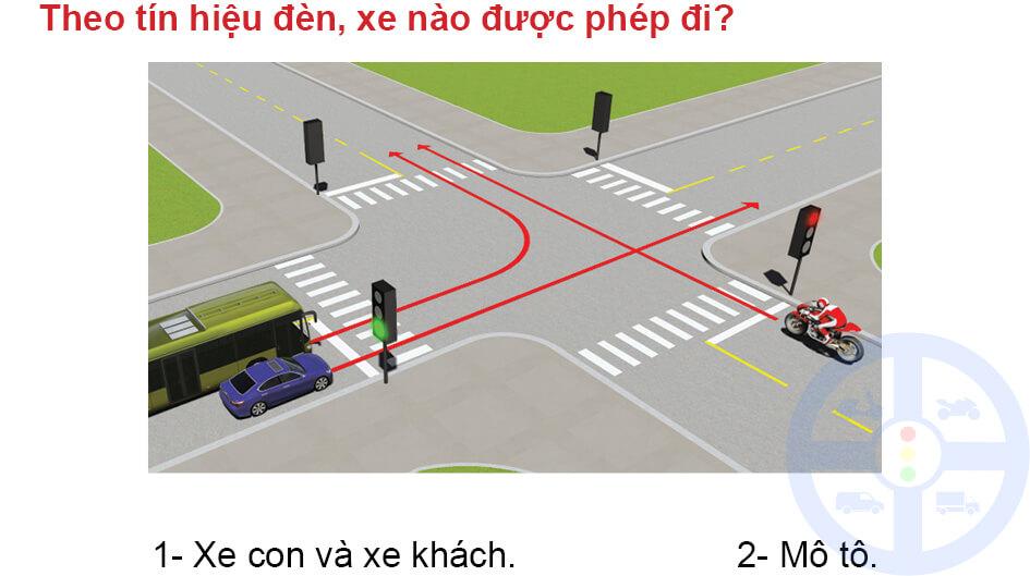 Theo tín hiệu đèn, xe nào được phép đi?
