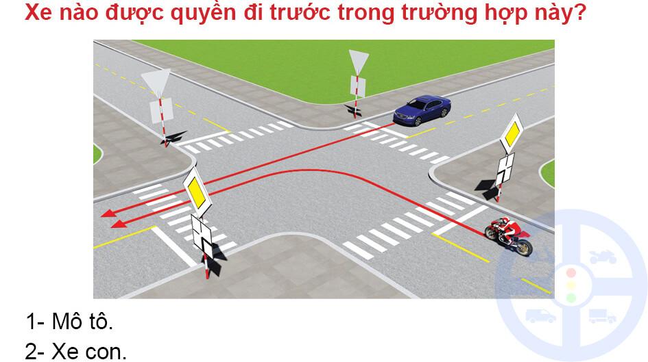 Xe nào được quyền đi trước trong trường hợp này?