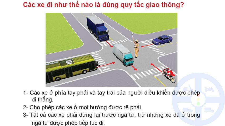 Các xe đi như thế nào là đúng quy tắc giao thông?